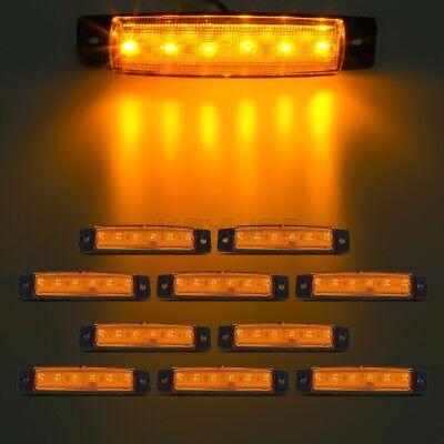 10x 6LED Amber Flat Oblong Truck Bus Trailer Side Marker Indicators Lights 12V