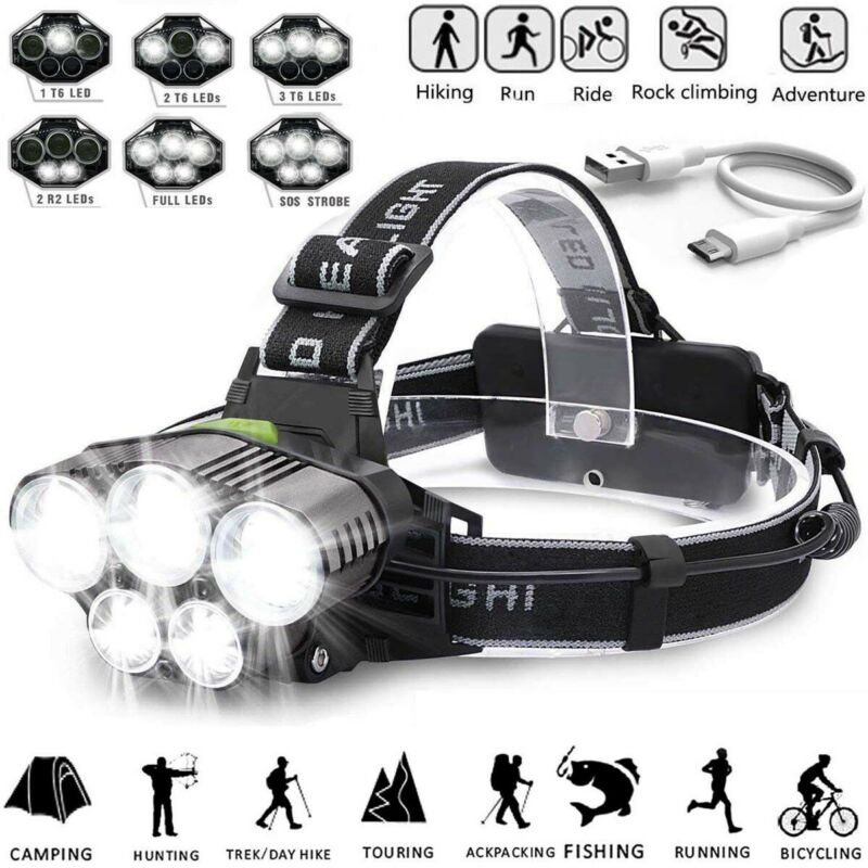 350000LM Rechargeable Headlight T6 LED Tactical Headlamp Flashlight+2*Char+18650