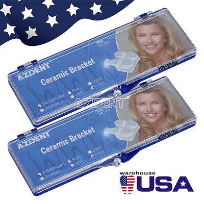 2 Box Azdent Dental Orthodontic Ceramic Brackets Braces Roth .022 3-4-5 Hooks