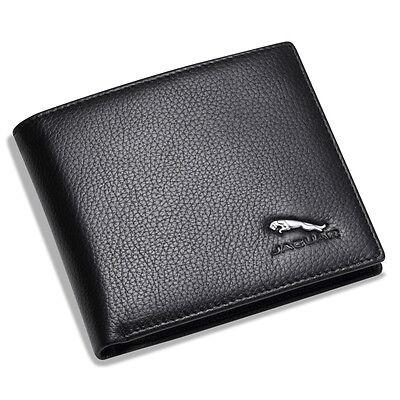 new Jaguar Black Bifold Wallet Genuine Calfskin Leather with 6 Credit Card Men