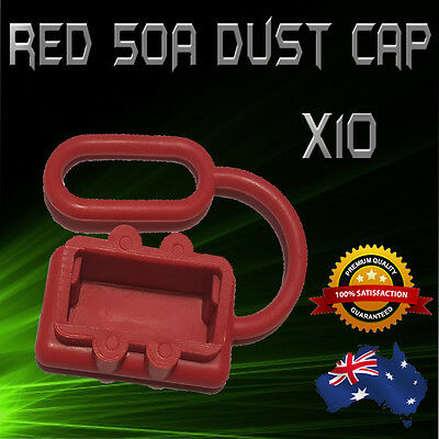 DUST CAP/COVER RED ANDERSON PLUG 50 AMP DUAL BATTERY CARAVAN 4x4 x10 FREE POST