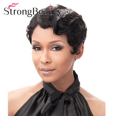 1920S Black Women 100% Real Human Hair Wigs Short Wavy Curly Retro Style - 1920s Style Wigs