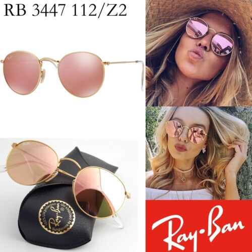 847063e620 New Ray-Ban Pink Mirror Lenses ROUND Metal Matte Gold RB 3447 112 Z2  Sunglasses