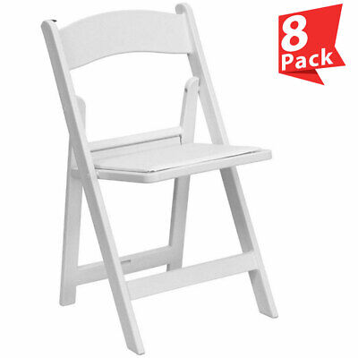 8 White Resin Folding Chair Vinyl Padded Seat 300 Lb Capacity Event Party Chairs