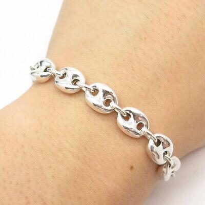 """925 Sterling Silver Vintage Anchor Mariner Adjustable Link Bracelet 7 3/4"""""""