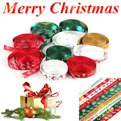 5 Yards 10mm Merry Christmas Tree Grosgrain Gift Ribbon Hair Bow DIY Sew Craft ()