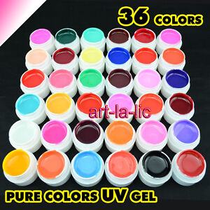 36-Pot-Pure-Color-UV-Gel-Nail-Art-Tips-Shiny-Cover-Extension-Manicure-GDCOCO-New