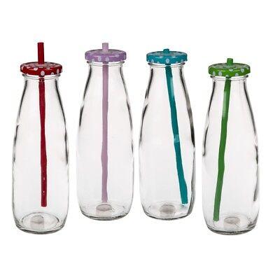 Trinkflasche mit Deckel + Strohhalm 4er Set 480 ml Trinkgläser Retro Glasflasche Flasche Gläser