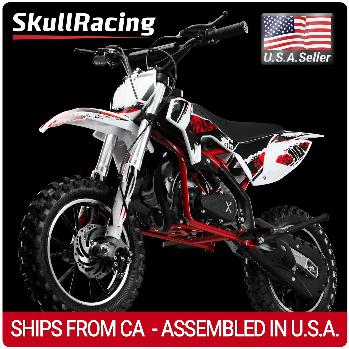 SkullRacing Gas Powered Kids Mini Dirt Bike Motorcycle 50RR