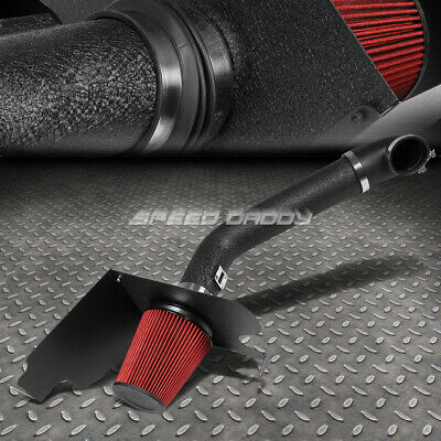 FOR 04-08 FORD F150 V8 WRINKLE FINISH COLD AIR INTAKE ALUMINUM PIPE+HEAT SHIELD Air Intake System Polish
