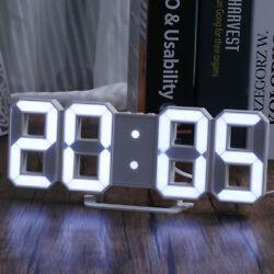 Digital LED 3D Table Desk Wall Clock Alarm 24/12Hr Display USB/Battery Snooze US