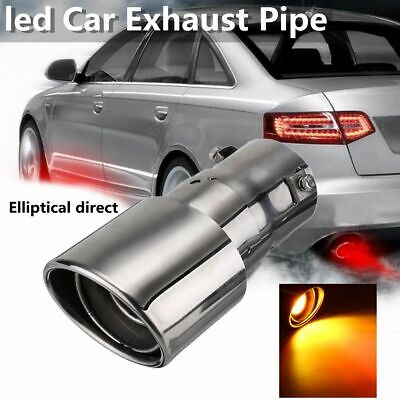 63mm Car Tail Exhaust Pipe Spitfire Flaming Red LED Light Muffler Tip uk