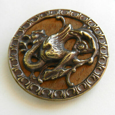 Fairy with flying draperies pierced brass button