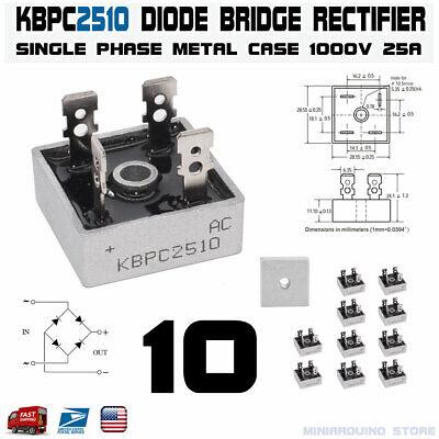 10pcs Kbpc2510 Diode Bridge Rectifier Single Phase Metal Case 1000v 25a Usa