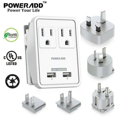 Dual USB UK/AU/EU/JP/US Travel Adapter Plug Dual Wall Outlets Charger 100V~240V