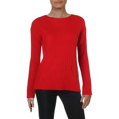 Aqua Women's Cashmere Distressed Knit Long Sleeve Pullover Sweater
