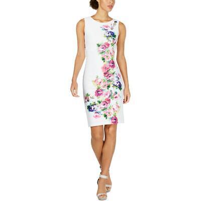 Calvin Klein Womens White Mini Scuba Floral Print Sheath Dress 14 BHFO 7086