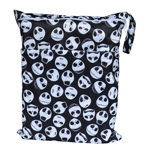 skull wet dry bag baby cloth diaper nappy bag reusable with two zippered pockets. Black Bedroom Furniture Sets. Home Design Ideas