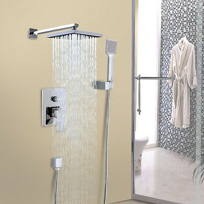 """8"""" Chrome Rainfall Shower precede Arm Device Valve Handspray Shower Faucet Set"""
