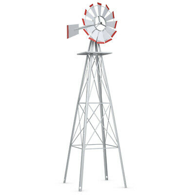 8Ft Tall  Windmill Ornamental Wind Wheel Silver Gray And Red Garden Weather Vane Gray Iron Wheel
