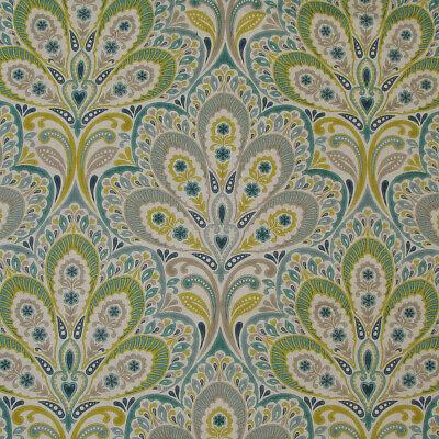 "2 meters x CLARKE & CLARKE ""Persia"" linen/cotton upholstery fabric Green/Blue"