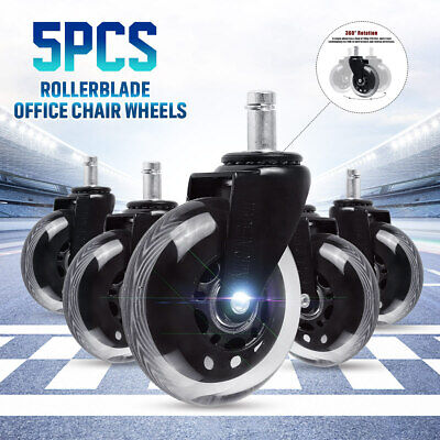5pcs Office Chair Caster Pu Swivel Roller Wheels Replacement Heavy Duty 3 Inch
