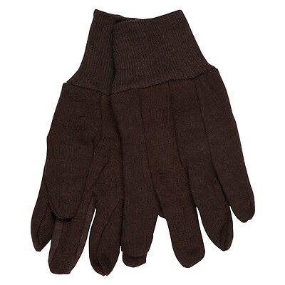 12 Pairs Mcr Safety Brown Jersey Work Gloves - Large