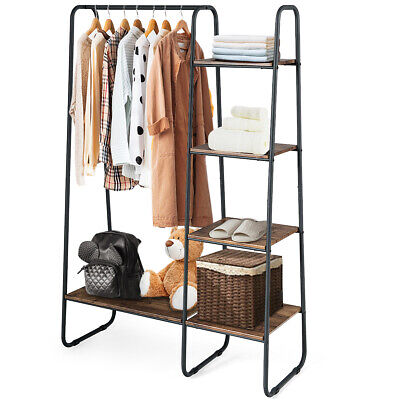 Clothes Garment Rack Free Standing Home Tower w/Metal Frame Industrial Freestanding Garment Rack