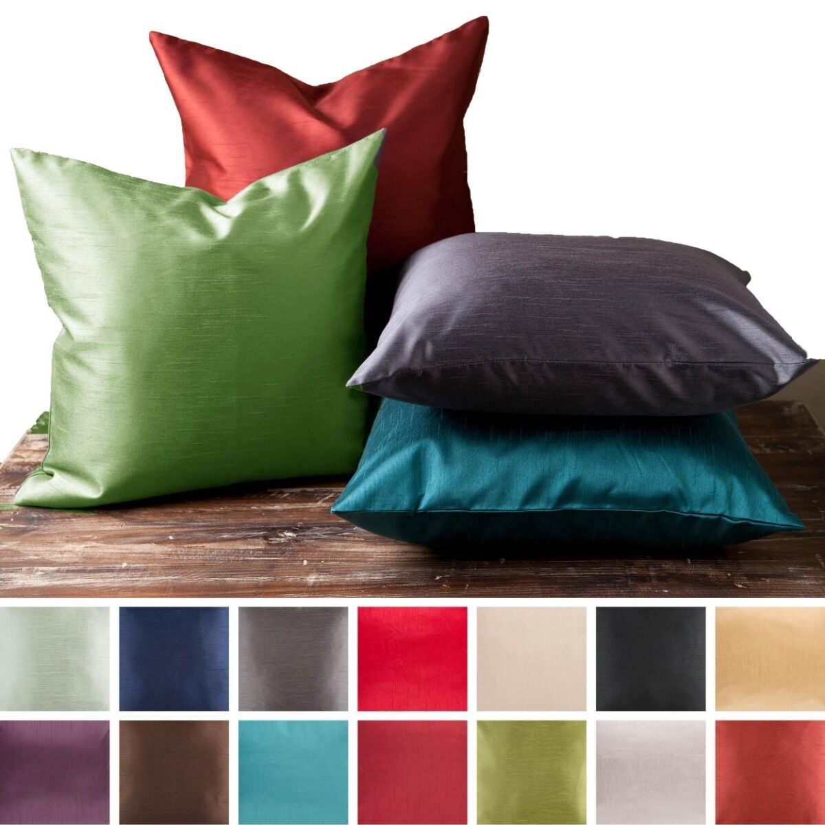 2 Piece Euro Shams Cover Case Decorative Pillow Zippered Closure MANY MORE Color Bedding