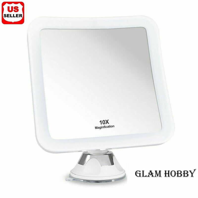 10X MAGNIFYING LIGHTED MAKEUP MIRROR Daylight LED Vanity Bathroom Travel Compact