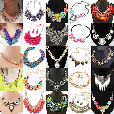 Necklace - Fashion Women Bib Flower Crystal Pendant Statement Chain Chunky Choker Necklace