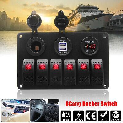 6 Gang Marine Boat 12V/24V Circuit Red LED Rocker Switch Panel Breaker