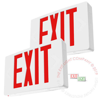 2pack Red Led Emergency Exit Light Sign - Battery Backup Ul924 Fire - Ledrbb