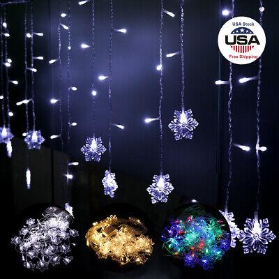 Indoor Christmas Snowflake LED String Lights Flashing Lights Curtain Lights US ()