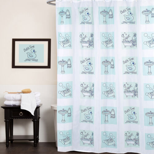 Polyester Fabric Shower Curtain Bath Time Rubber Ducky, Soap Print 70″x72″ Bath
