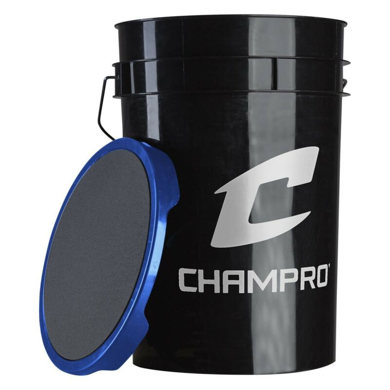 "Champro 12"" Slow Pitch Leather Cover Bucket with 2 Dozen Balls CSB-TSP12X"