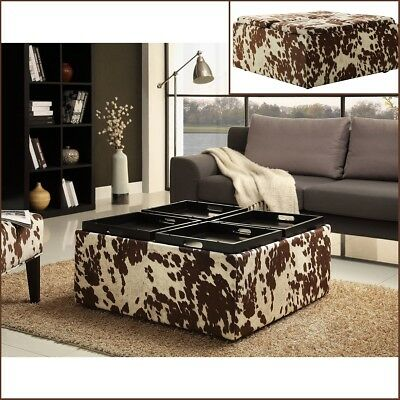 Large Square Country Rustic Coffee Table Storage Ottoman FAUX COW Upholstery  ()