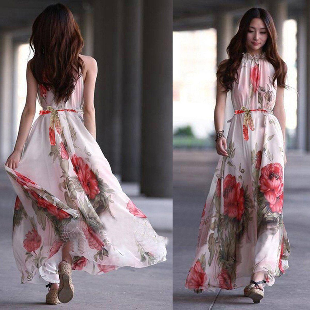 Women's Summer Boho Chiffon Long Maxi Evening Party Beach Dress Floral Sundress
