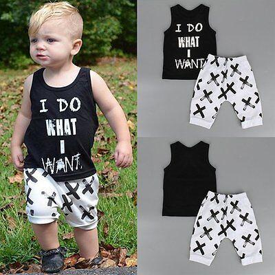 2pcs Toddler Kids Baby Boy T-shirt Tops+Pants Summer Casual Outfits Clothing Set