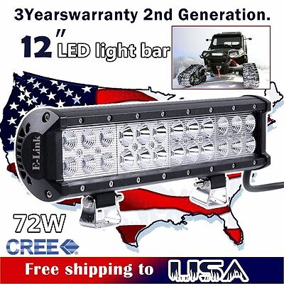 12inch 72W CREE LED Light Bar Cube Pods Lamps SUV 4WD ATV UTE Truck Jeep Ford 10