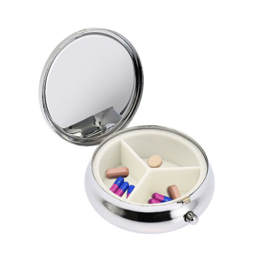 Small Medicine Container Cases Metal Round 3 Grid Silver Tab