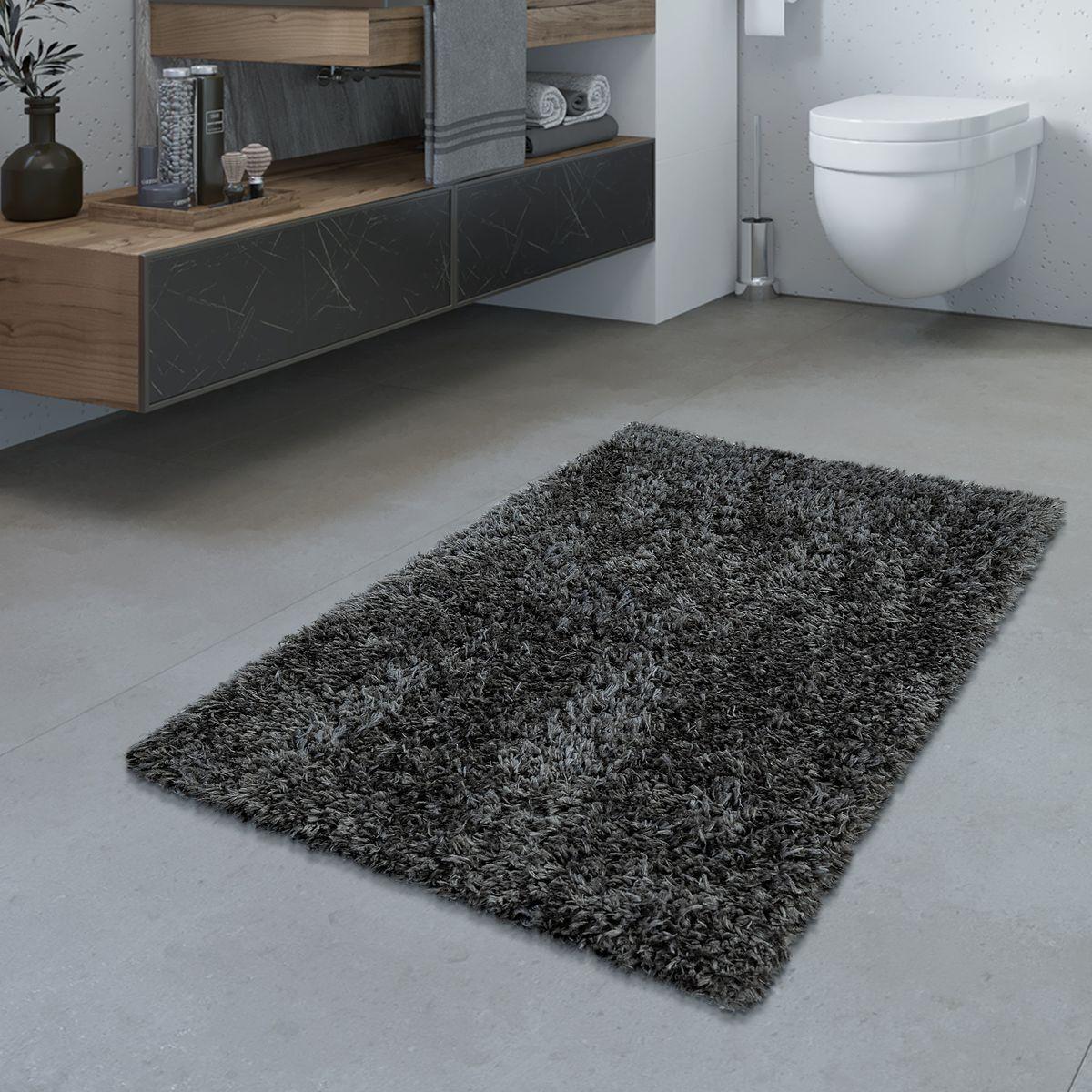 Badezimmer Teppich Hochflor Badematte Modern Kuschelig Weich Uni Grau