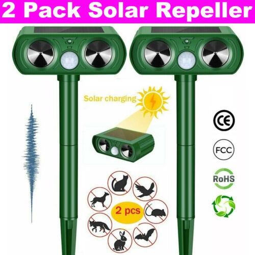 2X Solar Ultrasonic Pest Animal Repeller Cat Rodent Rat Squirrel Raccoon Control