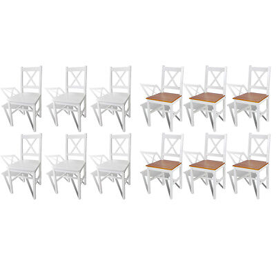 vidaXL Solid Pine Wood Dining Chairs Kitchen Dining Room Seats White 2/4 pcs