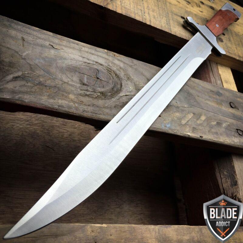 "18"" FULL TANG MACHETE HUNTING KNIFE SWORD WOOD HANDLE W/ SHEATH COMBAT OUTDOOR"
