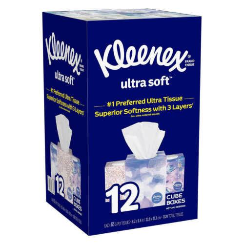 Kleenex Ultra Soft Facial Tissue, 3-ply, 85-count, 12-pack