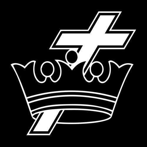 Knights Templar Cross & Crown Masonic Vinyl Decal - White 6 Inch