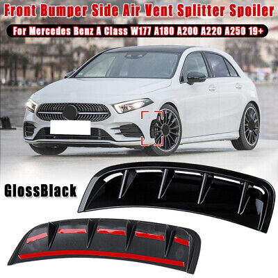 2X Vorne Stoßstange Spoiler Glanz Für Benz Mercedes A Klasse W177 A180 A200 A220