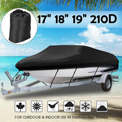 Used, 17 18 19ft Heavy Duty Boat Cover Trailerable Speedboat Ski Fishing V-hull Black for sale  Shipping to South Africa