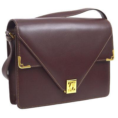 CARTIER Must De Cartier Cross Body Shoulder Bag Bordeaux Leather A43781b
